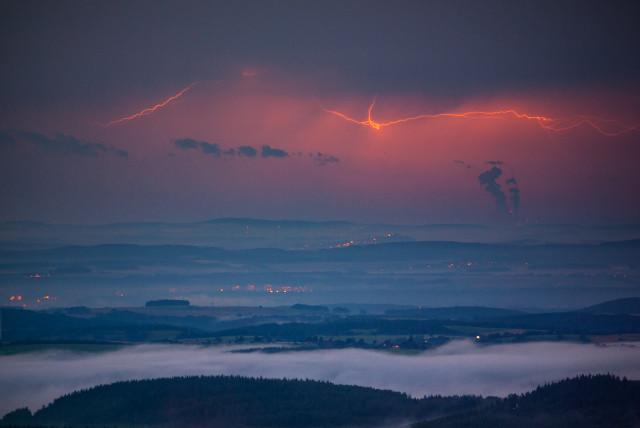 Gewitter über der Lausitz, gesehen vom Kahleberg