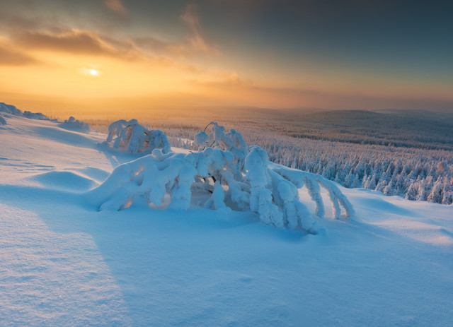 Sonnenuntergang hinter dem böhmischen Nebel