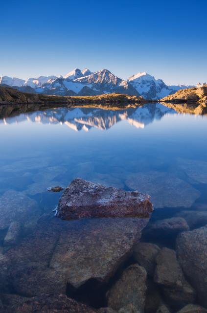 Lej dal Rosatsch, Blick zur Berninagruppe