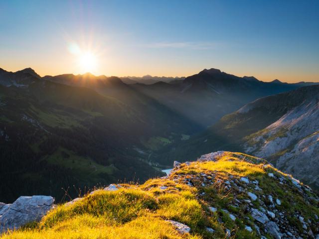 Sonnenaufgang auf der Riedingspitze