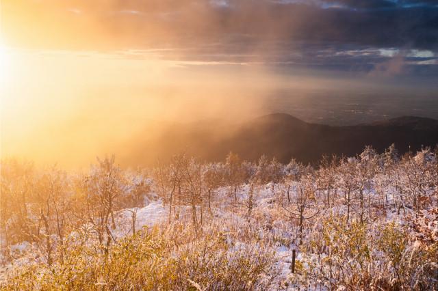 Abendstimmung nach dem ersten Schnee auf der Hornisgrinde