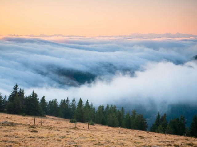 Morgenstimmung bei Inversionswetterlage auf dem Feldberg
