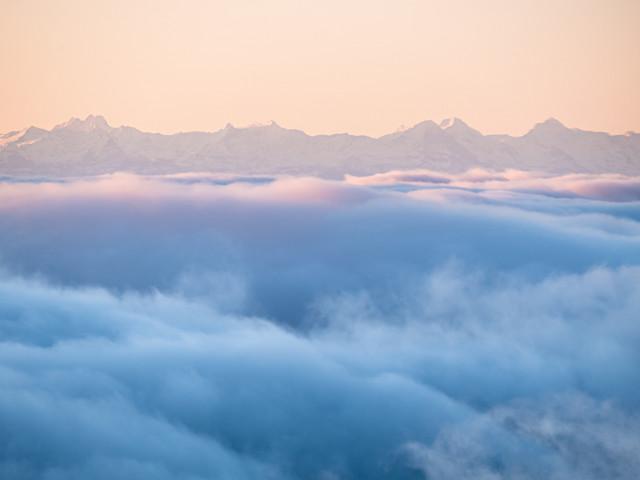 Hochnebel und Alpenblick auf dem Feldberg