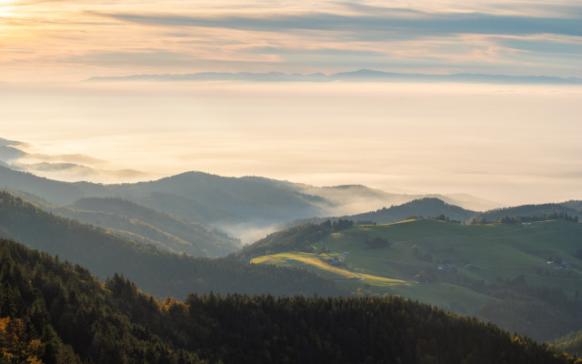 Abendstimmung auf dem Schauinsland bei Inversionswetterlage
